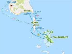 Selayar Takabonerate Diving Tour Map